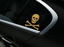 Skull Crossbones Car Sticker Window Styling Decal, Gold