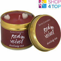 RED VELVET TINNED CANDLE TIN BOMB COSMETICS FLORAL SCENTED NEW