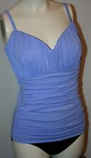 MIRACLESUIT RIALTO RUCHED lavender black swimsuit bathing suit ONEPIECE 12 $152