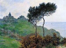Oil painting Claude Monet - Church at Varengeville, Grey Weather landscape