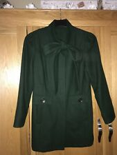 NEW LOOK Green Pussybow Wool Coat Size 10