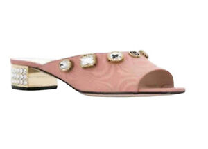 Gucci Lyric Moire Crystal Embellished Open Toe Block Heel Mules Sandals Pink
