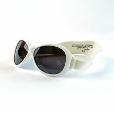 Baby Banz Retro Oval Baby Toddler Child Sunglasses with Head Strap White  0-2 Ye