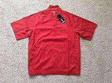 NEW Adidas CLIMAPROOF GOLF Short Sleeve Wind Rain Shirt Jacket men M Medium Red