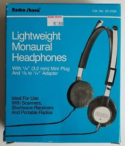 ***100% NEVER USED***  Radio Shack 20-210A Monaural Lightweight Headphones Tandy