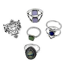 5Pcs Set Tibetan Silver Gypsy Rings Turquoise Geometric Joint Boho Midi Knuckle