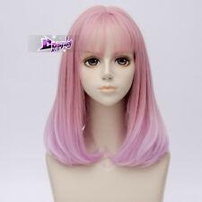 40CM Mixed Pink Long Wavy Hair Lolita Ombre Women Anime Cosplay Wig + Cap