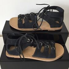 Whistles Size UK5 Black Lace Up Flat Suede Sandals Womens