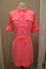 WOMENS J.CREW NEON PINK GARMENT DYED DRESS SIZE 4 PETITE BRIGHT BUTTON FRONT HOT