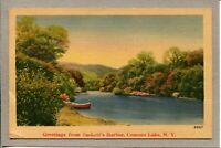 Postcard NY Greetings From Sackett's Harbor Conesus Lake Canoe Linen c1947 -486