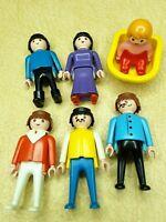 """Vintage 3"""" GEOBRA Playmobil People (4 - 1974) (1 - 1986) (1 - 1990 Baby & Sled)"""
