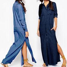 UK Stock Womens Buttons Long Sleeve Tops Denim Jeans Split Slit Maxi Dress Plus