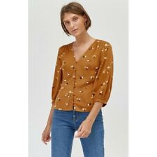 NEW ex Warehouse MUSTARD Floral 3/4 Sleeve Top Blouse 6 8 10 12 14 16 RRP £29.99
