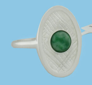 GENUINE 0.73 Cts MALACHITE RING 14K WHITE GOLD PLATED * New With Tag *