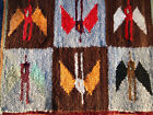 Peruvian Small Hand Woven Wool Tapestry Wall Rugs Set of 4 Different