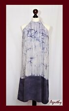 Agasthy - Mauve and off-white halter neck hand dyed batik silk shift dress