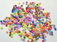 1000 Mixed Bright Color Acrylic Round Beads 4mm Smooth Ball Seed Beads