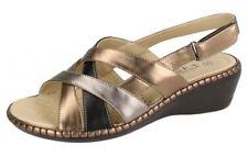 Ladies F3112 Riptape Strap Wedge Sandals by Eaze Bronze/silver UK 7