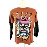 Ed Hardy Boy's L Large T-Shirt Crewneck Long Sleeve Bulldog Print orange