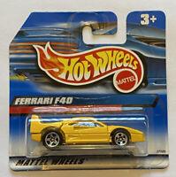 2000 Hotwheels Ferrari F40 yellow European Short Card MOC! Very rare!