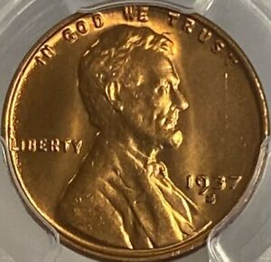 1937-S Lincoln Cent Penny MS66RD Wheat Penny Red Gem!