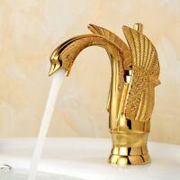 Gold Color Single Handle Swan Shape Bathroom Basin Faucet Hot Cold Mixer Tap Set
