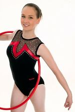 """Beautiful Sleeveless Leotard by ANNIEL SPORT Size Small (30/32"""" """"Chest) Black"""
