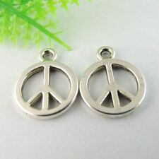 40pcs Antiqued Style Silver Alloy Peace Symbol Pendant Charms 18*15*1mm 39004