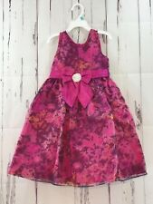 Jayne Copeland Dress Girls Size 5 Sleeveless Fuschia Floral Organza Party  NWT