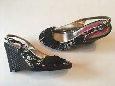 ab659d5ec5c5 POETIC LICENSE Black Floral Satin US 8.5 Platform Wedge Slingback Sandals