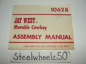 Vintage Jay West Movable Cowboy Figure Assembly Manual Marx Toy Co 1062B RARE