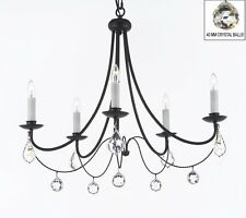 Empress Crystal (tm) Wrought Iron Chandelier Lighting With Crystal Balls!