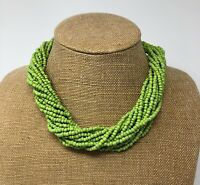 Vintage Multi-Strand Twisted Seed Bead Necklace Green Beads 20 In. Torasade