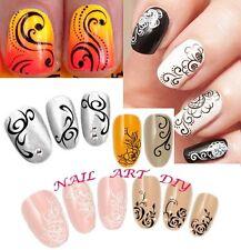 Nail Art Water Transfer Stickers-Decals Fiori Bianchi-Neri-Ricostruzione Unghie!