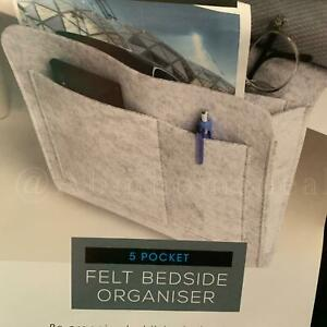 Grey Hanging Sofa Desk Organizer Felt Bedside Caddy Storage Bag Anti Slip Pocket