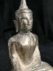 Antique Cambodian real silver hand tooled repoussé Buddha on throne 19th c