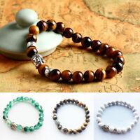 Unisex Natural Gemstone Beads Buddha Head Beaded Lava Rock Bracelet Gift