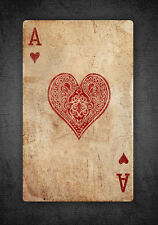 Framed Print - Vintage Ace of Hearts Playing Card (Picture Poster Poker Queen)