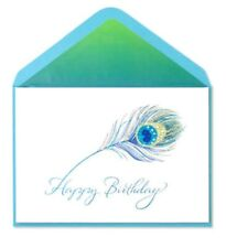 PAPYRUS GEMMED PEACOCK FEATHER HAPPY  BIRTHDAY CARD RHINESTONES