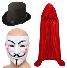 Anonymous Mask, Cape & Top Hat V For Vendetta Guy Fawkes Halloween Adult Scary