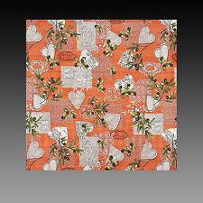 exclusive Tischdecke Terracotta mit Oliven und Herzen 90x90 100% Baumwolle NEU