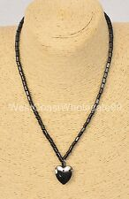 Magnetic Hematite Heart Pendant Fashion Necklace Costume Jewelry Wholesale - USA