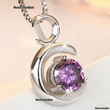 GIFTS FOR HER Amethyst Purple Diamond Necklace Love Xmas Wife Mum Daughter Women