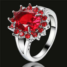 Size  7 Ruby Engagement Ring Red Garnet 18K White Gold Filled Wedding Jewelry