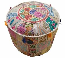 """18"""" Indian Beige Patchwork Pouf Ottoman Cover Footstool Embroider Covers Throw"""