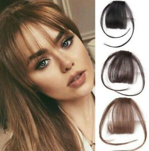 Women Thin Neat Air Bangs Hair Extensions Clip in on Fringe Front Hairpiece