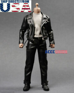 """1/6 T-800 Arnold Leather Terminator Jacket Set For 12"""" Hot Toys Muscular Figure"""