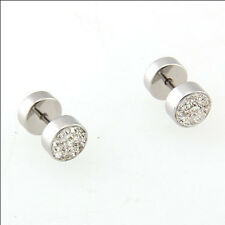Newest Men's Earrings Punk With Diamond Circular Needle Dumbbell Male Earrings