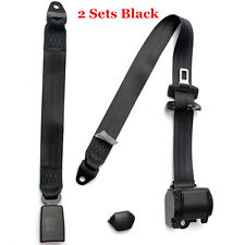 2 Sets Black Retractable Seat Belt 3 Point Car Truck Lap Adjustable Safety Belt