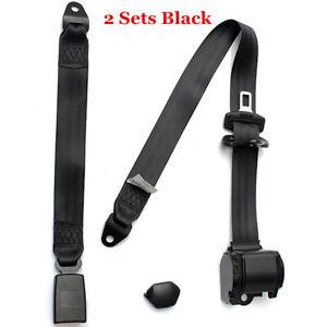 2 Sets Black Retractable Seat Belt 3 Point Car Truck Lap Adjustable Safety Belt